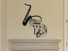 Wall Sticker Decal - Saxophone with musical notes home wall decor. Great gift for any musician or music lover of jazz, blues, big band, marching