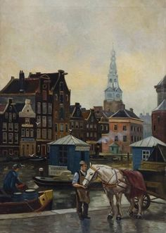 Stadsgezicht met steiger te Amsterdam richting Alkmaar, ter hoogte van St. Nicolaaskerk aan de Prins Hendrikkade te Amsterdam. Anoniem