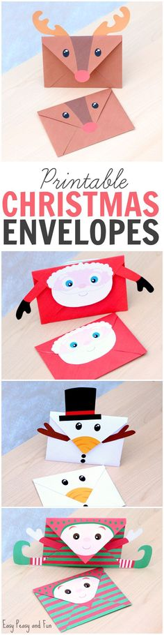 Printable Christmas Envelopes - Santa, Rudolph the Reindeer, Elf and Snowman. There is also a set of black and white ones for kids to color