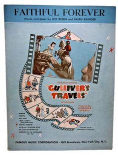 GULLIVER'S TRAVELS Faithful Forever Movie Sheet Music by Rosecitybooks on ETSY