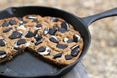 """Giant Oreo Skillet Cookie 17 Totally Delicious Camping Desserts That'll Make Your Kids Say, """"Let's Go, Let's Go! Camping Desserts, Desserts To Make, Camping Meals, Delicious Desserts, Dessert Recipes, Camping Stuff, Oreo Desserts, Camping Tips, Campfire Cookies"""