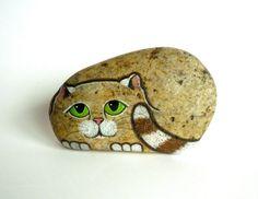 Hand Painted River Rock Cat, Petrified Cat