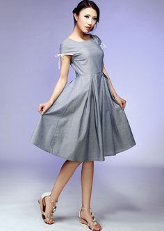 gray cotton midi  prom dress with Bow detail sleeve (535)