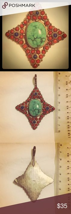 Star shaped turquoise pendant - vintage 6cm long with 1cm loop. Silver and semiprecious stones. Jewelry Necklaces