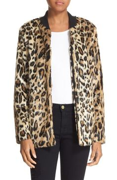 Truth & Pride 'Leo' Faux Leopard Fur Bomber Jacket available at #Nordstrom