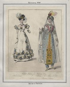"LAPL, World of Fashion, February 1828. ""Ball Dress."" ""Persian Costume."" (Fancy Dress.)"