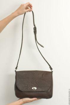 Купить Сумка из натуральной кожи на ремне коричневая хаки - хаки, сумка ручной работы, сумка