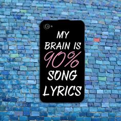 90% Song Lyric Brain Funny iPhone Case Cover