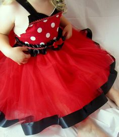 Minne Mouse Tutu Dress: red & white polka dots black ruffle and sparkle ric rak lined, adjustable, birthday party, disney trip, costume