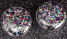 """Black Holographic Glitter Plugs Embedded Resin Filled - Made to Order  2,0, 00,1/2, 9/16, 5/8,11/16"""",3/4,7/8,24mm,26mm,28mm,30mm,32mm. $15.00, via Etsy."""