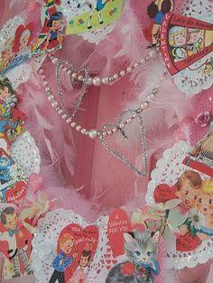 Custom Shabby Vintage Valentines Day Wreath by Pink Pearl Studio