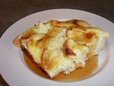 French toast casserole with pita bread and syrup
