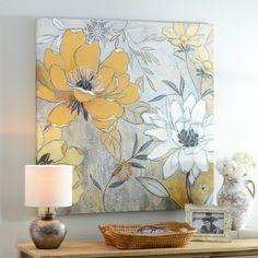 Vintage Yellow & Gray Floral Canvas Art Print   Kirklands