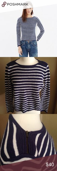 """Madewell Navy Striped Sweater Zipper Wool Blend M Madewell Women's Blue & White Striped Shoulder Zipper Sweater Cotton Wool Blend Med. White solid panels on the sides. Cropped, boxy fit. Gently used condition.  Chest: 42"""" Length: 20""""  Please ask questions before you buy, thanks! Madewell Sweaters Crew & Scoop Necks"""