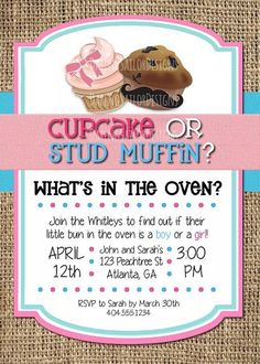 Cupcake or Stud Muffin Gender Reveal Invitation, Printable Party Invitation | 5x