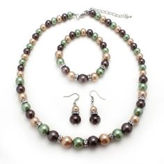 Green, tangerine, maroon Glass Pearl Bead Necklace Jewelry Set   Gift from USA #Fashion #Style #MadeinUSA #Jewelry