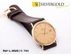 1-5-744-2-R-Omega Quartz esfera redonda dorada y correa de cuero marrAtildesup3n L4525 Omega Quartz, Watches, Leather, Accessories, Fashion, Clocks, Elegant, Moda, Wristwatches