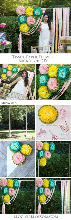 How to make a Paper Flower Backdrop for a Garden Party.  It is also perfect as a photobooth backdrop!