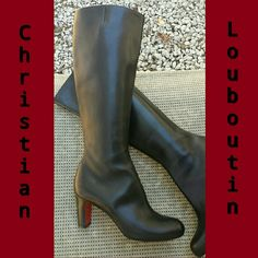 "CHRISTIAN LOUBOUTIN  'MISS TACK BOTTA 70' Authentic 'Christian Louboutin' clean-lined classic black Leather knee high boots. Style: 'Miss Tack Botta 70' was designed in 2012 w/ signature sole, aprox. 3"" stacked wooden heel, zip fastening inner side, elastic insert at top for added flexibility...the perfect boot retails at $1,295 but sold out everywhere. These are in PERFECT NEW CONDITION! Sorry, no box or dust bag. Never been worn (too small)...remember that CL runs 1 size smaller. NO…"