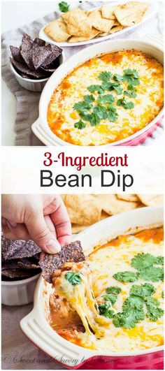 When you need a tasty appetizer in less than 30 minutes to feed a crowd, this 3-ingredient bean dip will be your answer! Cheesy and filling dip with ton of flavor without much effort.