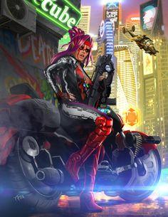 Shadowrun Female Street Samurai or Rigger by raben-aas on DeviantArt Cyberpunk 2020, Cyberpunk Kunst, Cyberpunk Girl, Cyberpunk Fashion, Character Concept, Character Art, Character Design, Dreamland, Fantasy