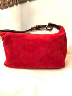 674960c755d Cole Haan Red Suede Brown Leather Single Strap Shoulder Bag   eBay Cole  Haan, Shoulder