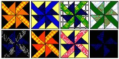 Mini Wheels pinwheel blocks for barn quilt patterns.