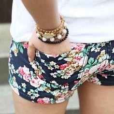 Floral print shorts.