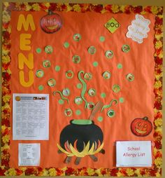 What's Cookin? - Cafeteria Halloween Bulletin Board - This What's Cookin? – Cafeteria Halloween Bulletin Board is just one of our many bulletin boar - Kitchen Bulletin Boards, Cafeteria Bulletin Boards, Halloween Bulletin Boards, Preschool Bulletin Boards, Sport Nutrition, Kids Nutrition, Nutrition Program, Nutrition Month, Nutrition Education