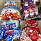 100% Cotton Christmas Double Bed Duvet Quilt Cover Pillow Set Xmas Santa Claus