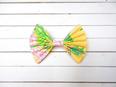 """Lilly Pulitzer """"Racy Lacy"""" in Yellow Fabric Hair Bow for Girls/Teens/Adults with French Barrette or Alligator Clip Girl Hair Bows, Girls Bows, Fabric Hair Bows, Yellow Fabric, Cute Bows, Barrette, Lilly Pulitzer, French, Etsy"""