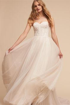 corseted bodice, lace, full tulle skirt  BHLDN's Watters Rowland Gown in Ivory