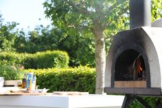 Mobile pizza oven at a birthday event