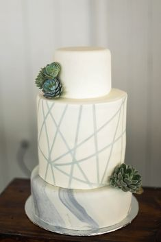 Modern geometric marble cake and succulents #cedarwoodweddings Modern Classic Style by Cedarwood Weddings | Cedarwood Weddings
