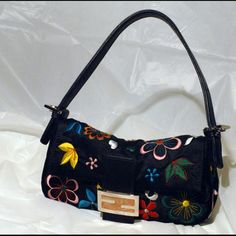 FENDI embroidered silk bag In genuine silk multi embroidered floral design, silver tone hardware FENDI Bags