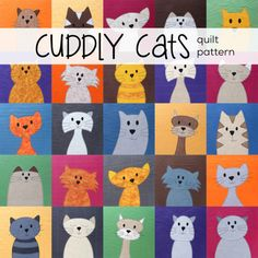 So many cats! It's a clowder of cats – a glaring of cats – a pounce of cats! The pattern is so much more than just a pattern. It's really an applique workshop disguised as a pattern. :-) If you know how to use your sewing machine, you can make this cuddly kitty quilt! There are