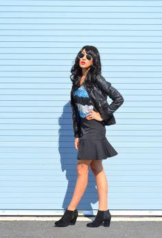 Winter Style: Zara moto jacket, JCP flounce skirt, Jessica Simpson booties, sequins top