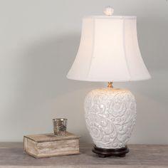 Floral Relief Ceramic Table Lamp