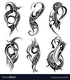 Set of tribal tattoo vector Tribal Tattoos, Tribal Drawings, Tribal Art, Maori Tattoos, Tattoo Son, Back Tattoo, Husband Tattoo, Stammestattoo Designs, Tribal Designs
