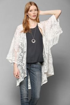 this sheer kimono would be amazing with lingerie and possibly a sliky belt in a few shots.   Black Hearts Brigade Lace Kimono Jacket