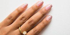 pink glitter mani