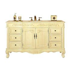 Silkroad Exclusive Ella 60-in White Oak Undermount Single Sink Bathroom Vanity with Natural Marble Top