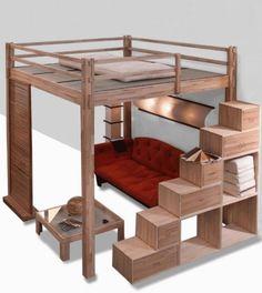 lit mezzanine deux places bois-canapé-rangements