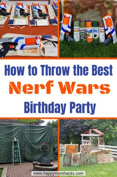 Ultimate Nerf Wars Birthday Party Ideas and Games. Learn how to host an easy DIY party by building bases, playing capture the flag and create favors and goody bags. All you need to know for a unforgettable Nerf Gun Birthday party! Diy Birthday Party Games, Diy Party Games, 9th Birthday Parties, Birthday Ideas, Party Crafts, 8th Birthday, Nerf Party Food, Kid Parties, Husband Birthday