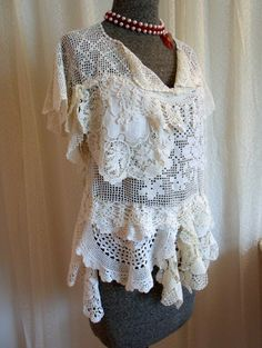 Crochet Lace Top Blouse Handmade OOAK Off by SweetRepeatVintage