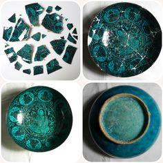 Restoration of blue and black Persian bowl #ceramic #antiquariato #restauro