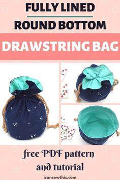 Skirt Patterns Sewing, Bag Patterns To Sew, Sewing Patterns Free, Free Sewing, Diy Sewing Projects, Sewing Projects For Beginners, Sewing Tutorials, Drawstring Bag Diy, Drawstring Bag Pattern