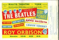 Poster Tour with The Beatles and Roy Orbison 1963 Beatles Poster, The Beatles, Concert Tickets, Concert Posters, Rock Posters, Band Posters, Music Posters, Rialto Theater, Framed Records