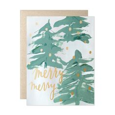 "Abstract spruce trees and gold foil accents against a wintry backdrop for a Merry Merry Christmas. A2 size (4 1/4""x 5 1/2"" when folded) Blank interior Paired wi"