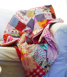 patchwork blanket by silly old suitcase via Flickr. pretty!